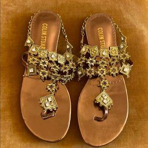 COLIN STUART Gold Strappy Sandals 8B